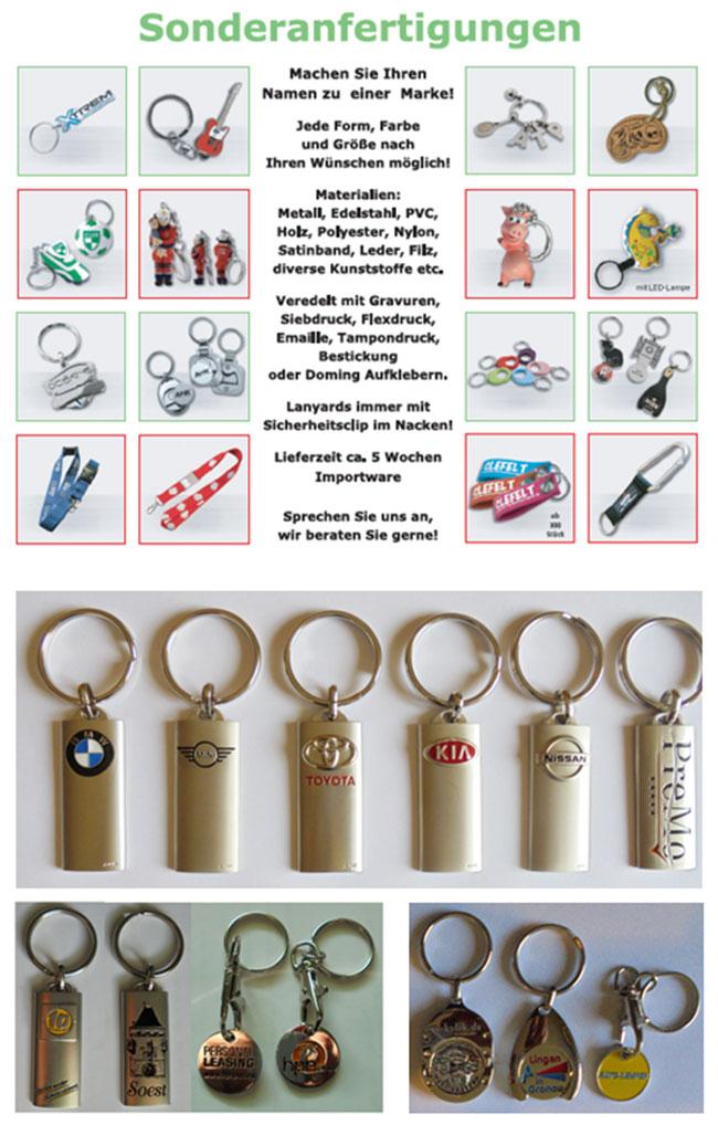 Schlüsenanhänger mit Werbung | Variationen und Sonderanfertigungen