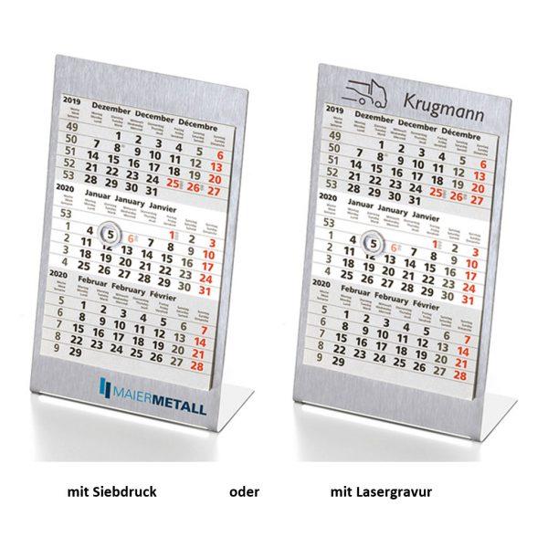 ischkalender Edelstahl mit Werbung | 1 oder 2 Jahre Kalendarium | Produktbild