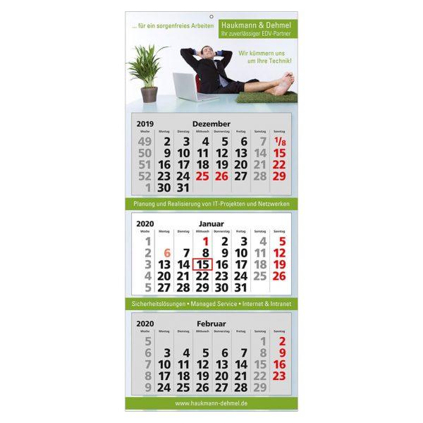 Werbekalender 3 Monate | 3-Monats-Wandkalender mit Druck | Produktbild